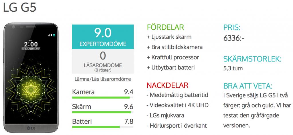Surfas recension av LG G5