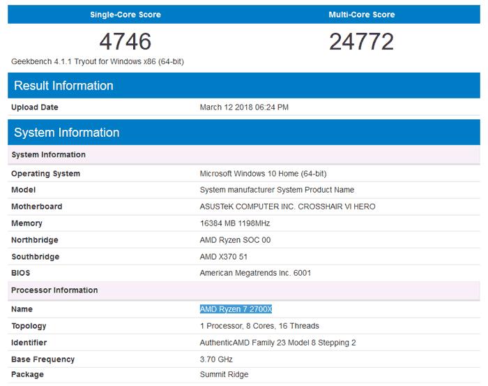 Ryzen 7 2700X Geekbench