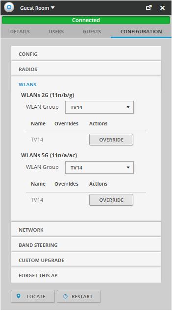 WLAN-grupp kan använda för att styra vilka enheter som ska ha access till vilka accesspunkter/nät