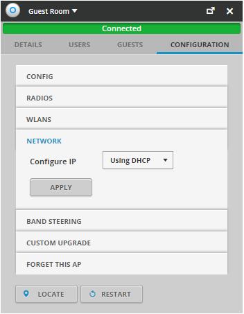 NETWORK ställer in hur din accesspunkt ska få sin IP-adress