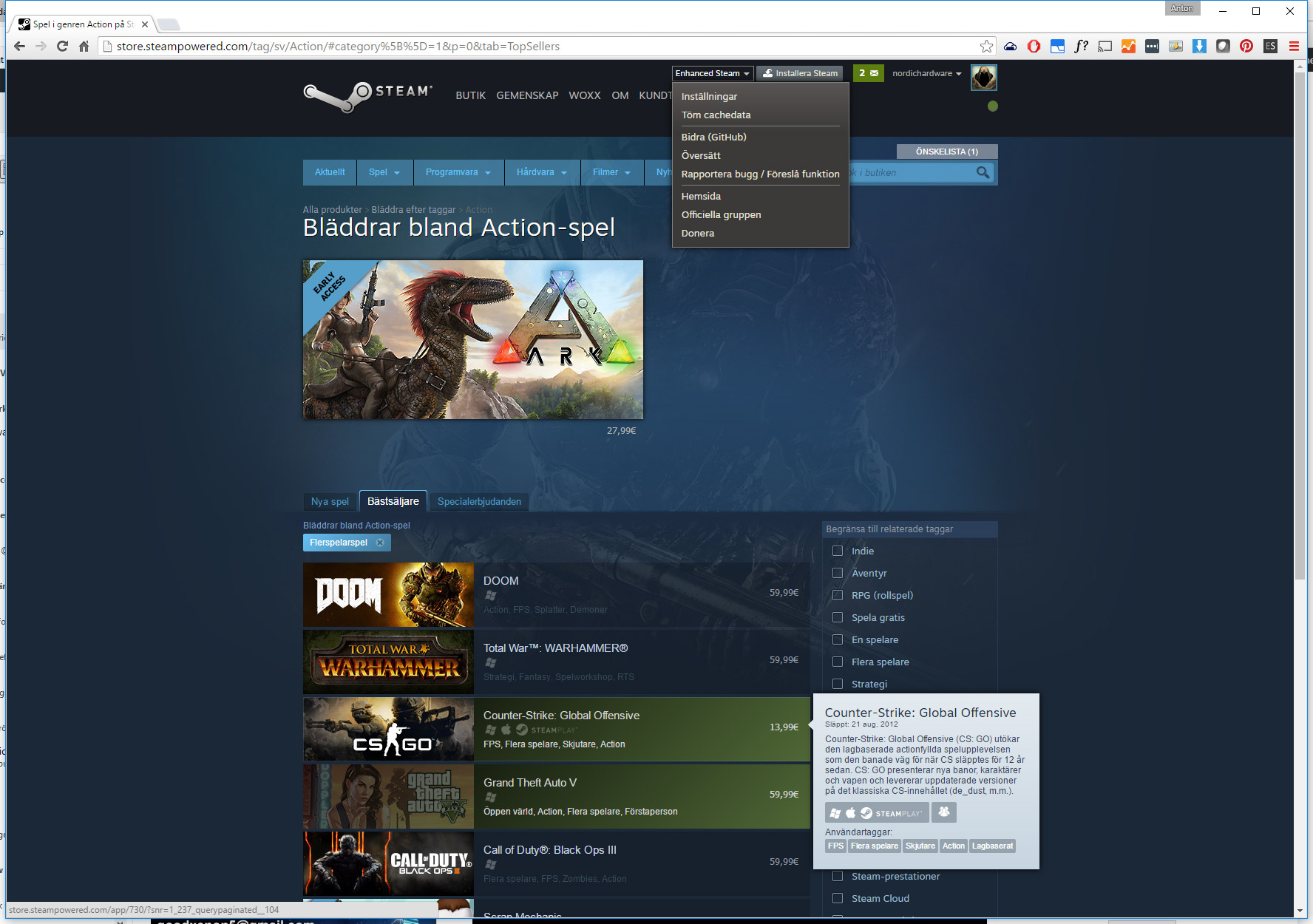 Enhanced Steam visar vilka spel du äger och massvis av annan information.