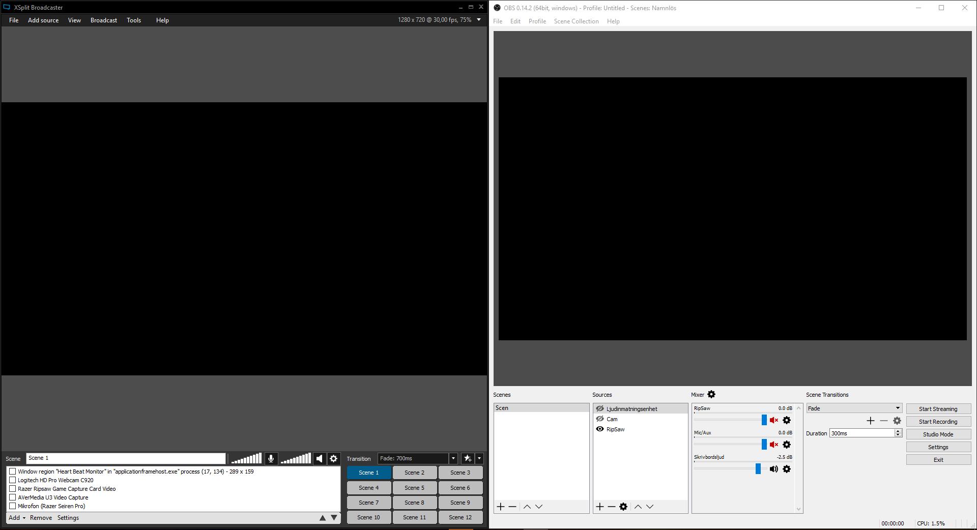 Här ser du OBS och XSplit sida vid sida