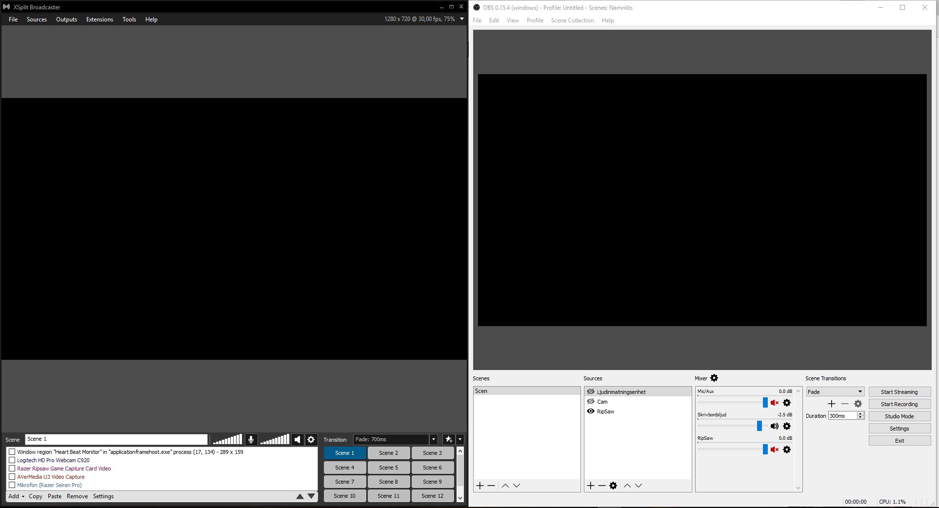OBS och XSplit har både liknande layout och funktioner