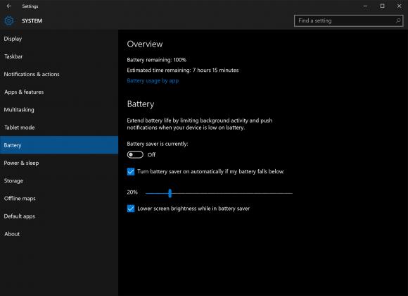 Batterioptimering i Windows 10