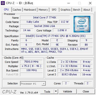 Intel 7740K @ 7,5 GHz