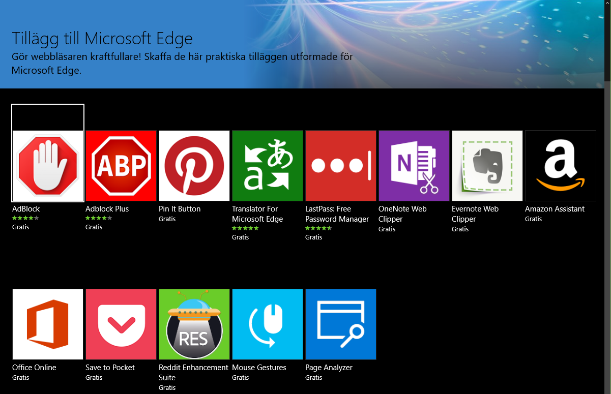 Här är de nya tilläggen som fungerar i Microsoft Edge.