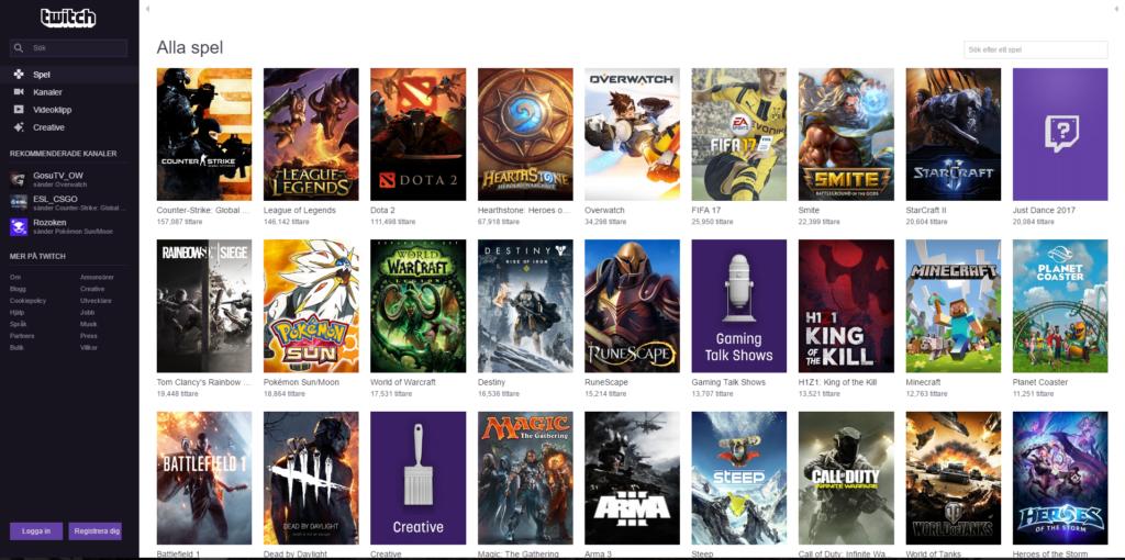 Twitch låter dig se vilka spel som drar flest tittare just nu.